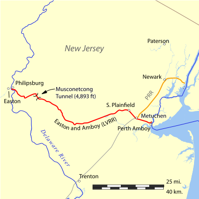 Location of the tunnel on the Easton and Amboy Railroad